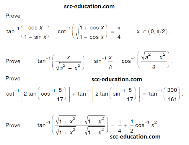 Inverse trigonometry questions ~ SCC Education