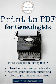 Learn why printing to PDF can help your genealogy. Going green is great, growing your family tree is better. | The Occasional Genealogist #genealogy #familyhistor