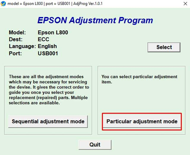 Particular adjustment mode epson l800
