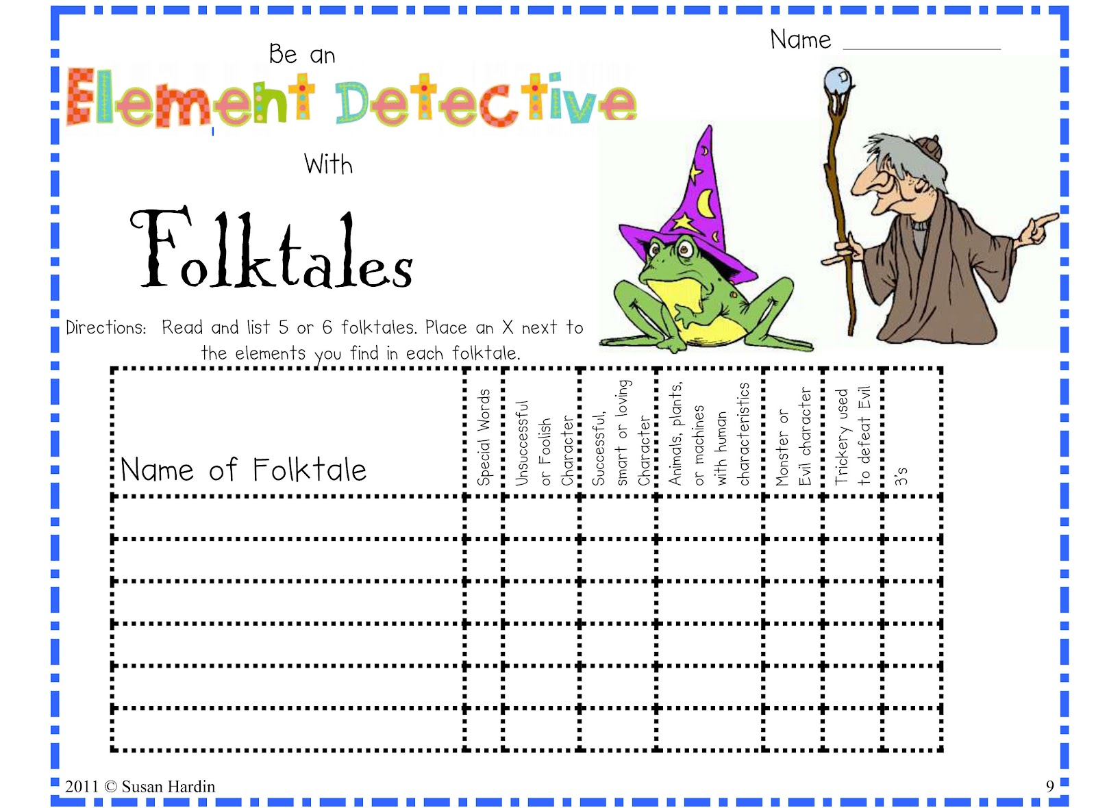 Elements Of Fairy Tales Worksheet