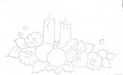 risco velas de natal com bolas e rosas