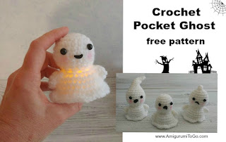 crochet white ghost with lights