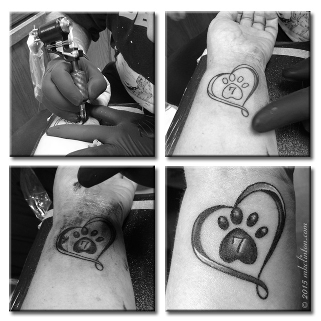 Collage of getting tattoo