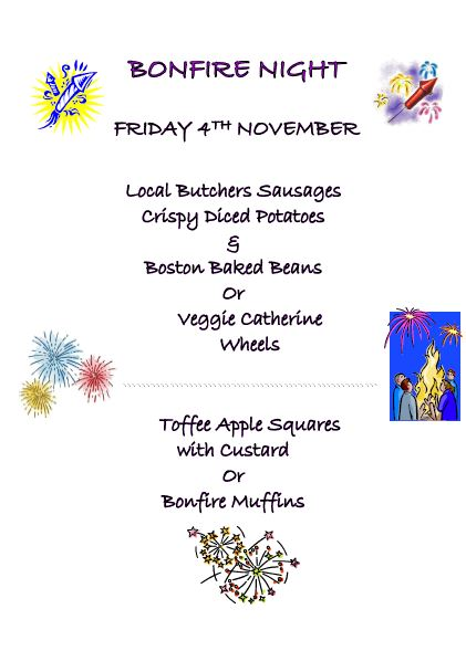 rayleigh primary school bonfire night menu