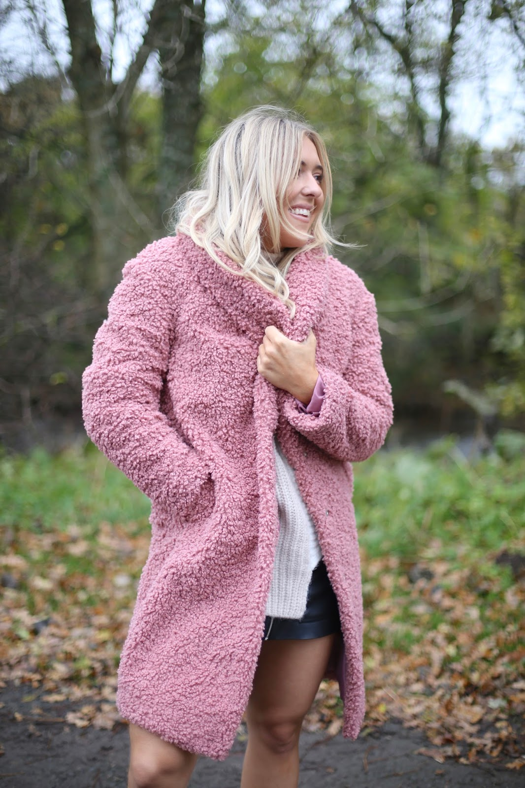 next faux fur fluzzy coat