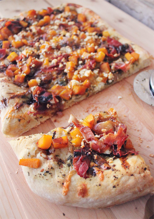Butternut Squash, Prosciutto & Goat Cheese Pizza with Pumpkin Spice Balsamic