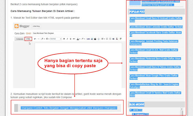 Cara Agar Artikel Blog Tidak Bisa Di Copy Paste Terbaru