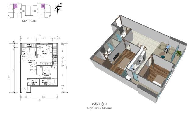 Thiết kế căn hộ loại H - 74,3m2 - 2PN, 2VS chung cư Eco Dream City