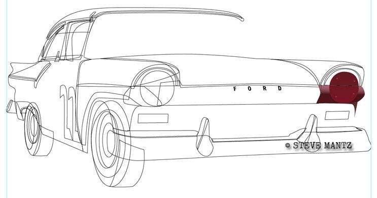 motorsports art  fireball roberts u0026 39  1957 ford race car day