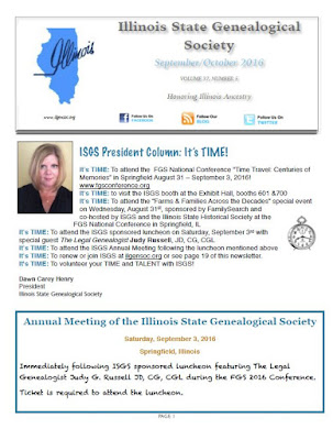 ISGS September/October 2016 Newsletter Now Available!