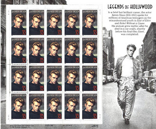 The illustration to the right of the stamps is James Dean walking without his cigarette.