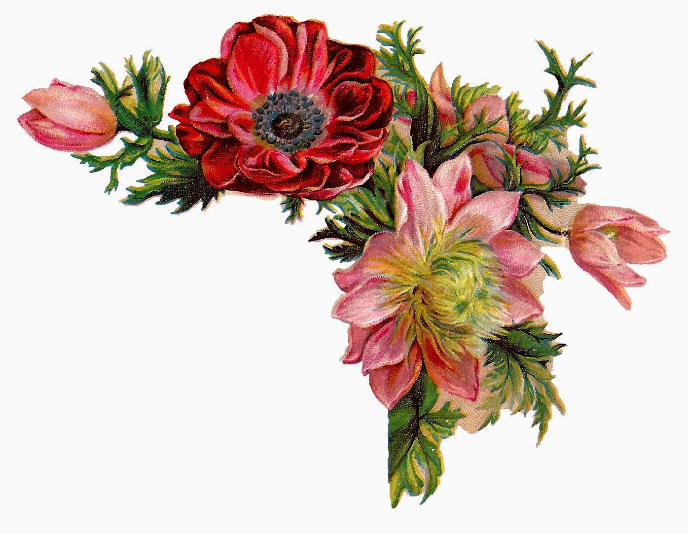 Antique Images: Free Digital Flower Images of Corner ...