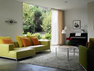 Decorar sala verde y gris