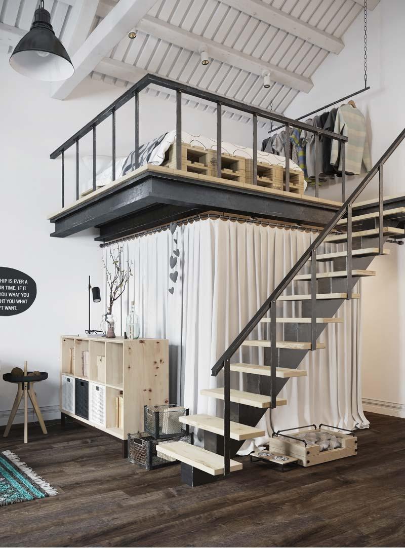 Il progetto di un loft di 45mq con originali soluzioni salvaspazio
