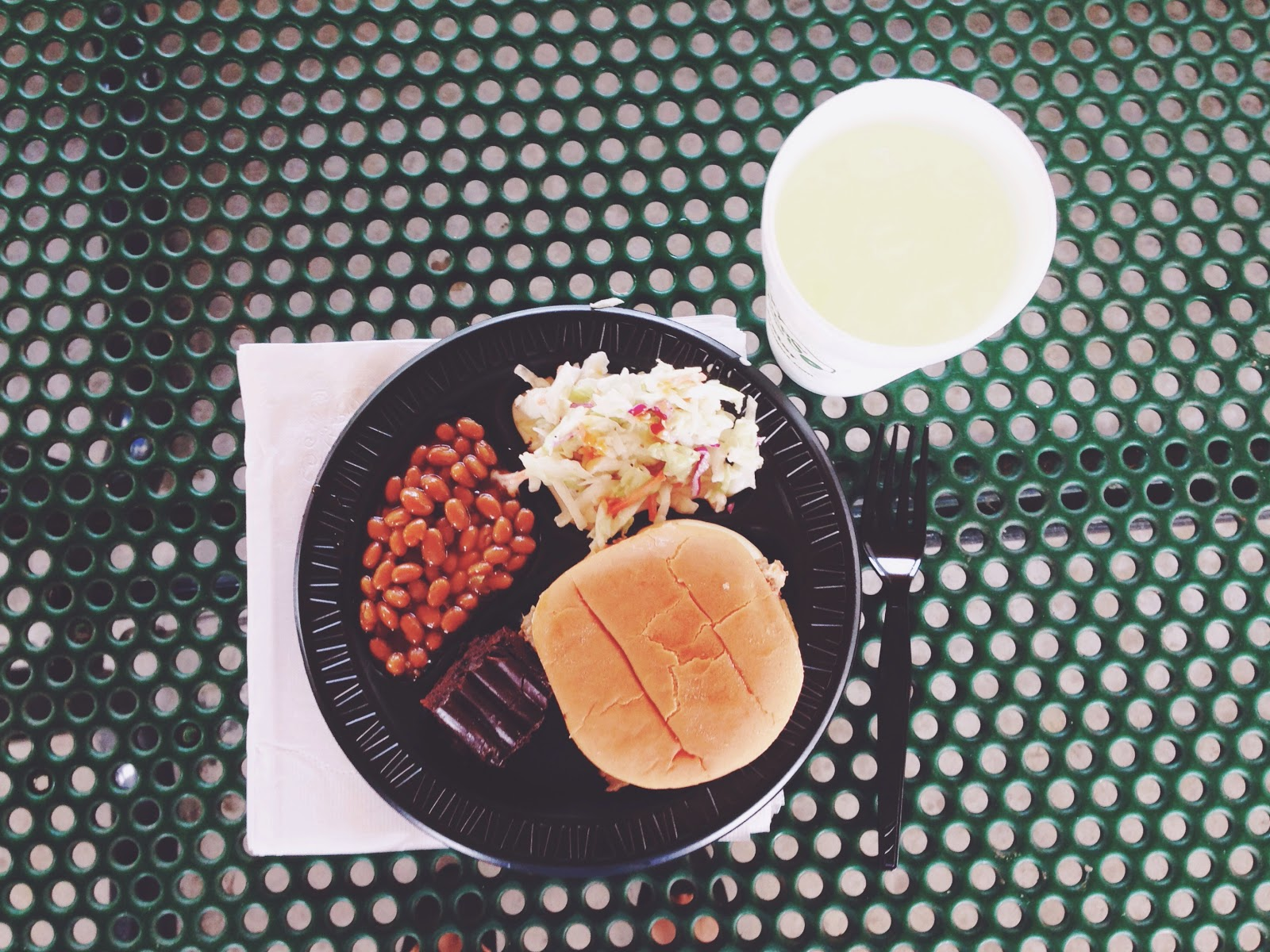Sticky Fingers pulled pork sandwich, beans, cole slaw, and lemonade at Short Stay Moncks Corner