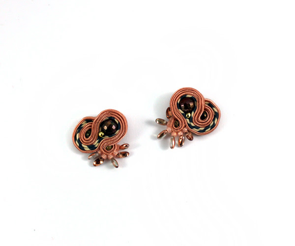 small soutache earrings, everyday, casual, brown, tan, fancy, handmade, jewelry, jewellery,