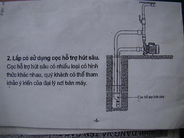 Sơ đồ lắp máy bơm giếng khoan hút sâu