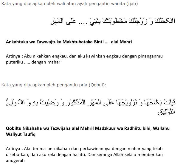 ijab kabul dalam bahasa arab