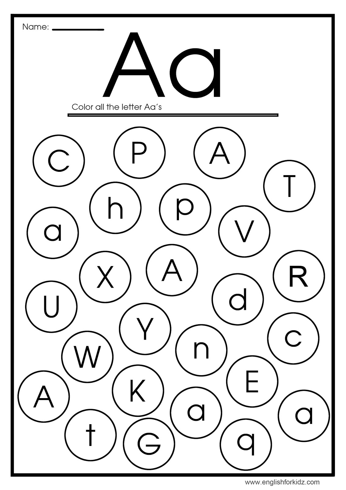 find letter a