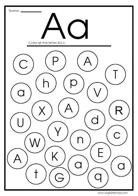 Find letter a worksheet