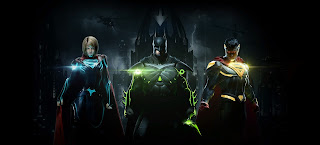 Supergirl, Batman, and superman in the injustice title artwork