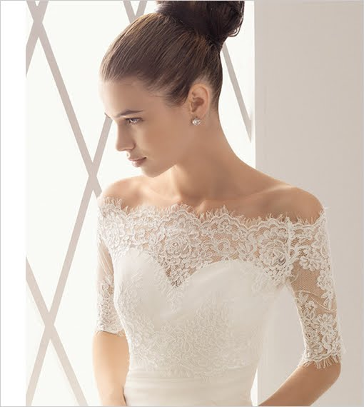 Elegant Lace Tulle Wedding Dresses Simple Design 3 4 Lace: Dream Wedding Place: Black And White Wedding Dress