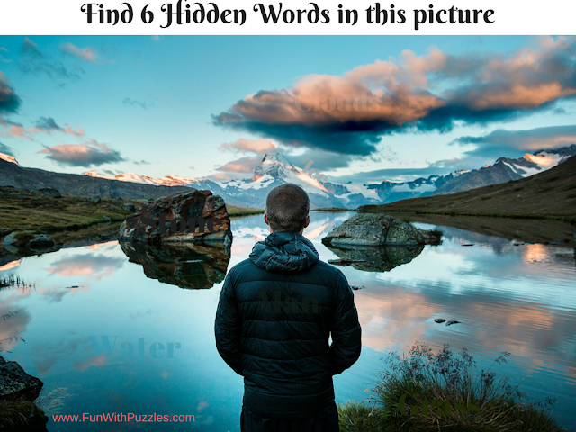 Hidden Words Puzzle Picture of Lake