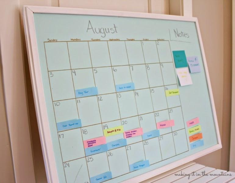 A whiteboard schedule.