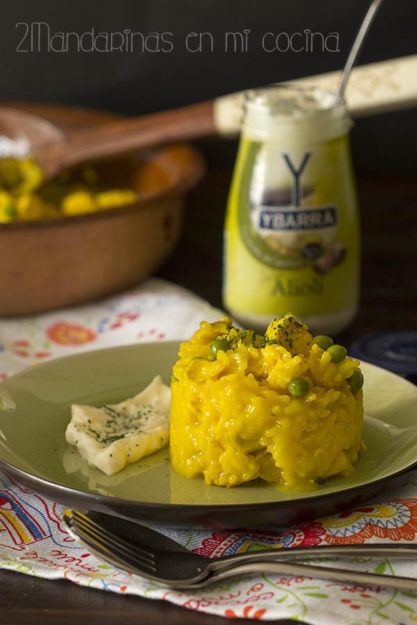 como preparar arroz amarillo con pollo y alioli