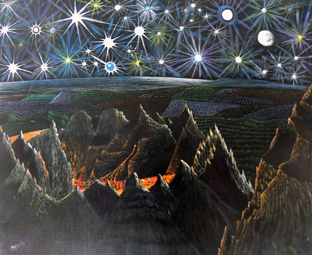 Manuel Carmona pintura naíf volcán