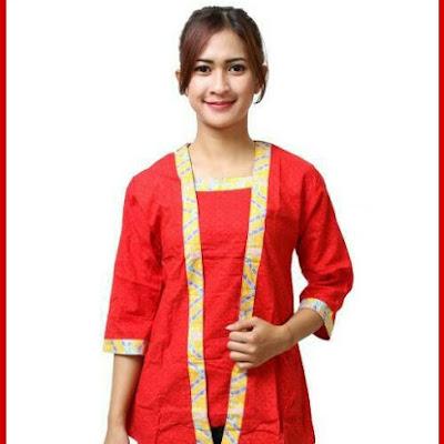 B6TBD Batik Kutubaru Wanita Sonaya Merah Bj98B6