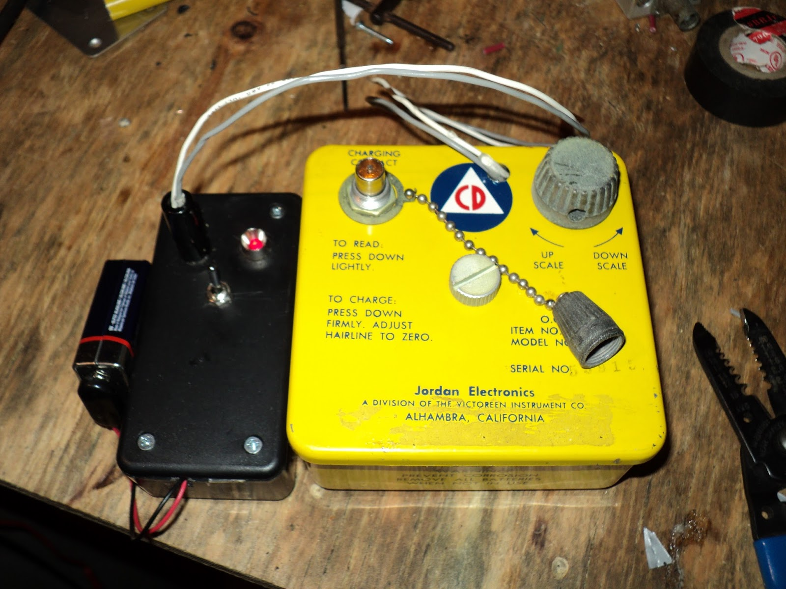 Inventions And Ideas From Douglas M Eagleson December 2016 Schematic For Victoreen Cd V700 Geiger Counter I Drilled A Hole Larger Enough To Let Pass The Led Leads Epoxied This With In Place Into Mount