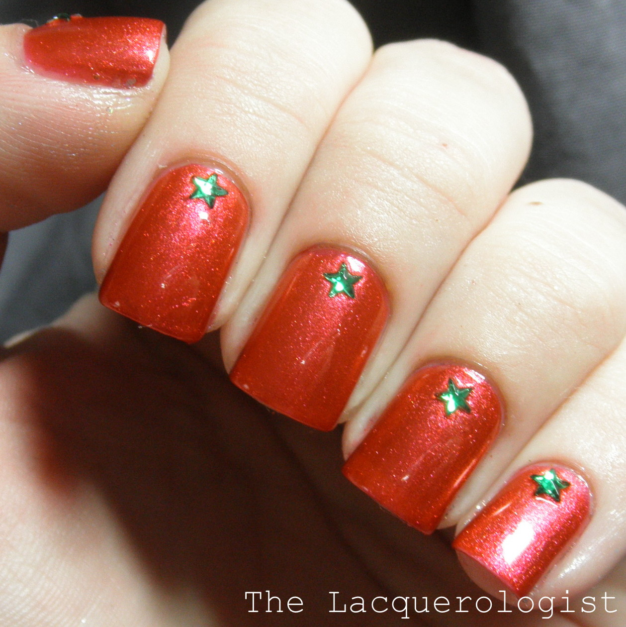 super simple christmas nails with mash rhinestones - Simple Christmas Nails