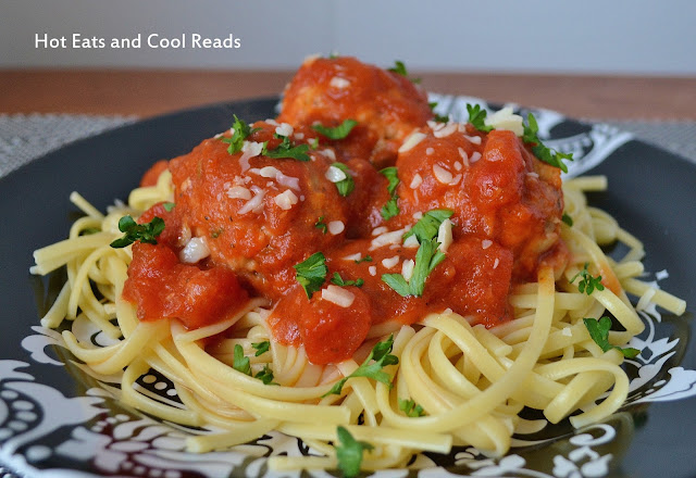 Linguine with Ground Turkey Meatballs and Marinara Sauce Recipe from Hot Eats and Cool Reads! Homemade meatballs make this delicious pasta a great dinner idea! The meatballs and sauce are a great freezer meal that you can warm in the slow cooker!