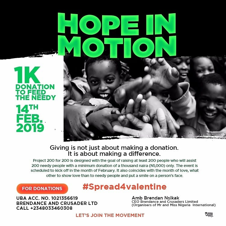 "#Spread4valentine : ""HOPE IN MOTION"" Charity Project themed "" Project 200 for 200"". 