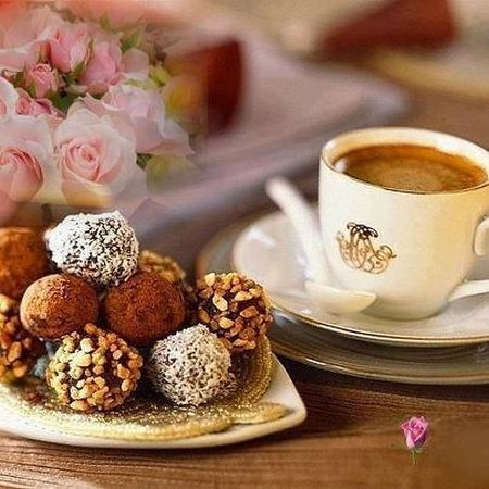 yummy: coffee with delicious truffles