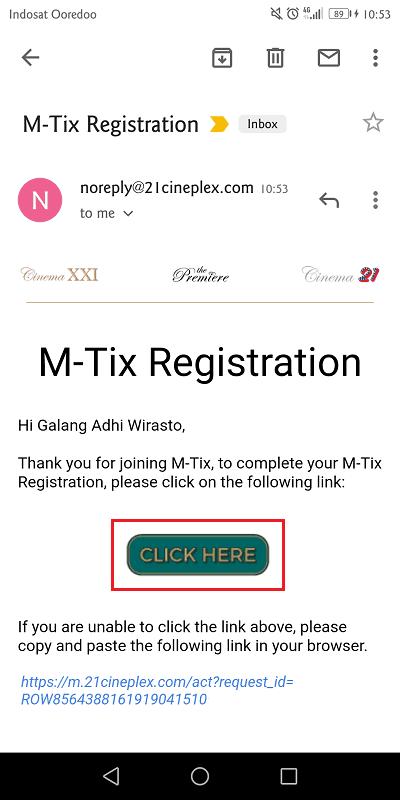 buka email dari mtix dan klik link konfirmasi yang diberikan untuk mengaktifkan pendaftaran
