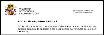 BOICAC 106 Consulta 5   Sobre el tratamiento contable que debe darse a una retribución en especie derivada de la cesión a los trabajadores de vehículos en régimen de renting.