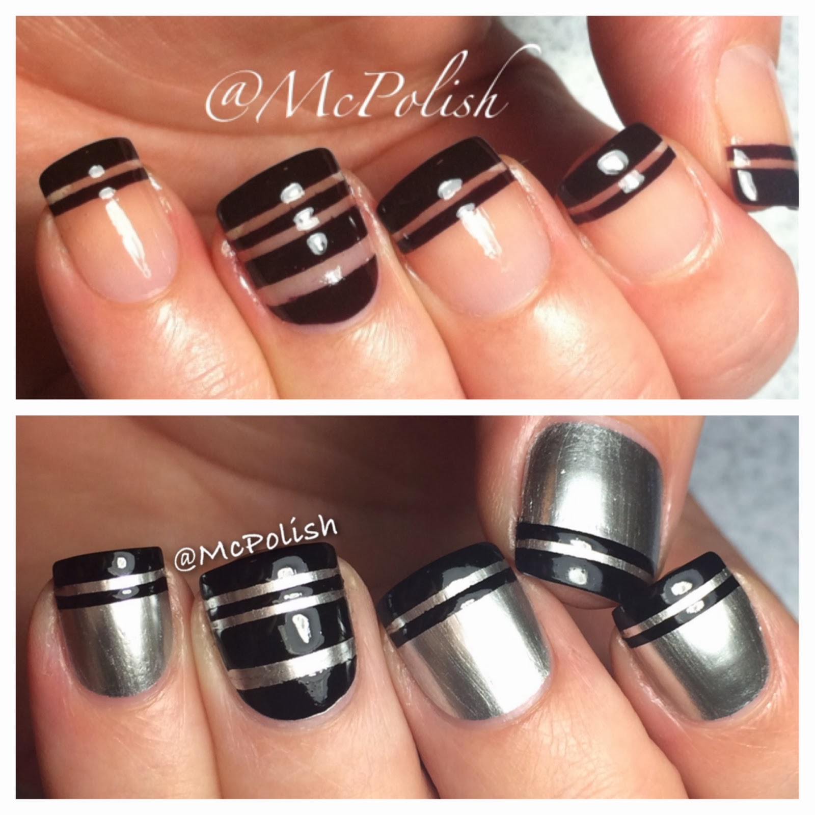 McPolish striped mani, OPI Push and Shove