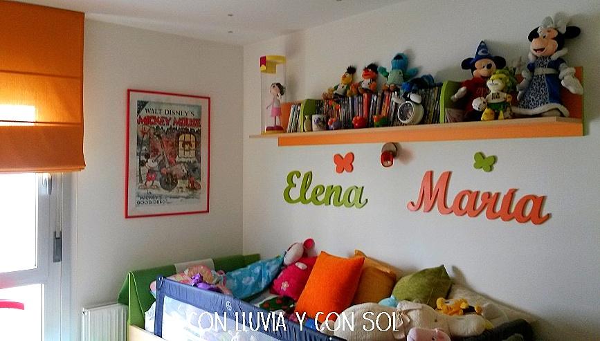 Con lluvia y con sol nombres de madera para pared mar a - Letras para decorar habitacion infantil ...