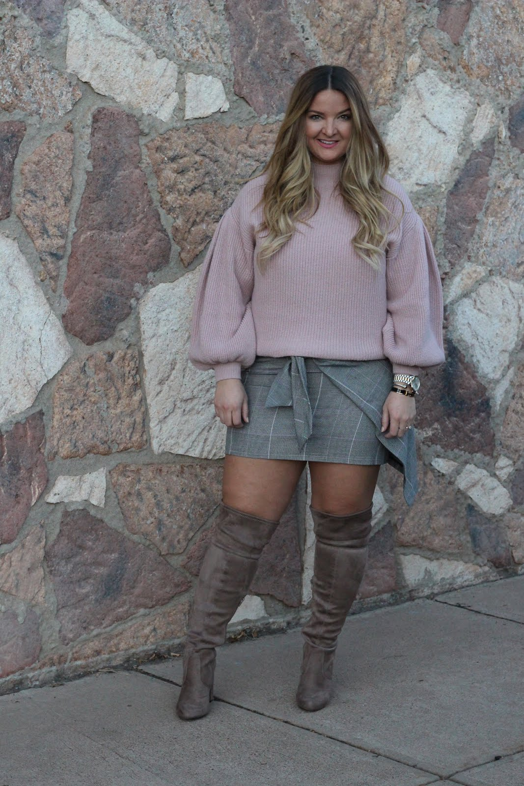 Pink Sweater by popular Denver fashion blogger Delayna Denaye