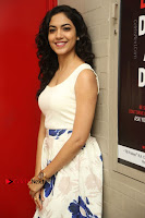 Actress Ritu Varma Stills in White Floral Short Dress at Kesava Movie Success Meet .COM 0097.JPG