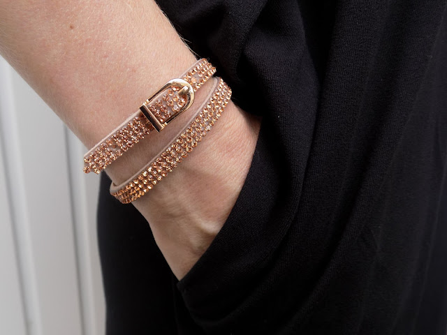 Rose gold diamante buckle wrap bracelet