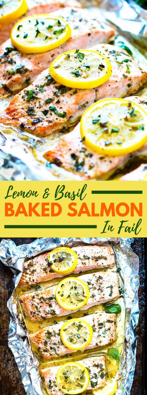 BASIL & LEMON BAKED SALMON IN FOIL #Paleo #Glutenfree