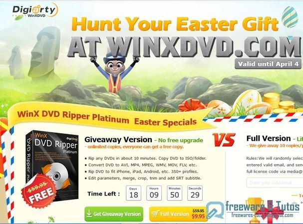 Offre promotionnelle : WinX DVD Ripper Platinum gratuit (pour Pâques) !