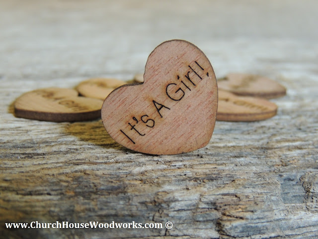 It's A Girl Wood Heart Confetti- Rustic Baby Shower Decorations To Sprinkle On Table