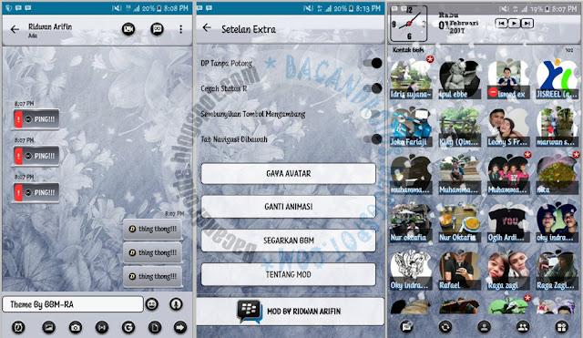 Download BBM Mod Grey Flower Style Theme versi  BBM Mod Flower Grey Theme v3.2.5.12 Apk Terbaru