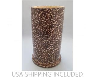 Brown Spongeware Pottery Tall Cylinder Vase