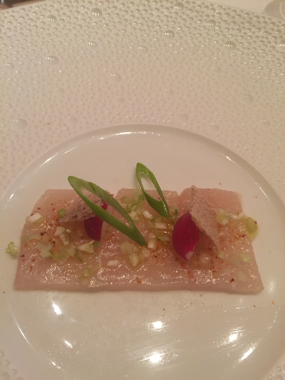 Hungry Panda  Dinner at Le Bernardin in NYC Hamachi   Flash marinated hamachi  young radishes  amaranth crisp and yuzu  vinaigrette  So light and fresh  Loved the crisp on top and the texture was  so