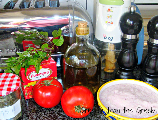 Ingredients for quick Greek tomato sauce